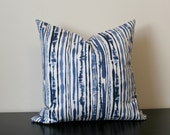 Decorative Throw Pillow, Ikat Pillow Cover, Duralee Blue Striped Pillow Cover, Toss Pillow, Sofa Pillow, Accent Pillow, Bedroom Pillow
