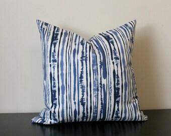 Duralee Blue Striped Decorative Throw Pillow Cover,  Blue and White Pillow Cover, Toss Pillow, Sofa Pillow, Accent Pillow, Bedroom Pillow
