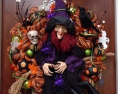 Large Laughing Witch Dressed in Purple and Black Wreath