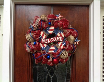 Welcome Red and Khaki Mesh Wreath