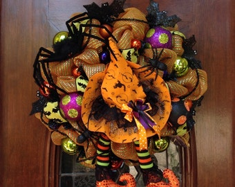 Orange Witch Hat and Boot Wreath