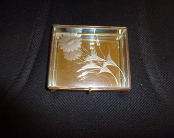 Vintage Glass and Brass Jewelry Box  *Glass Display Box  *Jewelry Box  *Glass Nick Nack Box *Glass Ring Box