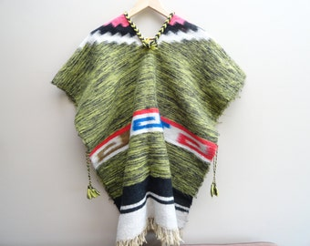 Multicoloured Wool Poncho Vintage fits one size S M L