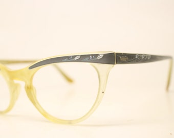 Black Yellow Cat Eye Eyeglasses Unique vintage Eyewear Retro Glasses Catseye glasses vintage frames