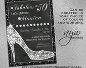 50th Birthday Invitations - Heels Diamonds - Birthday Invitation Cards - Party Invitations - Printable Invitations - Chalkboard Women Bling