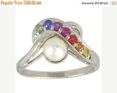 Valentines Day Sale Multicolor Rainbow Sapphire & Pearl Classic Ring 925 Sterling Silver (1/4ct tw) SKU: 1604-925