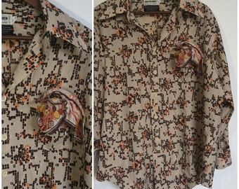 Super 70s Retro Geometric Print Shirt