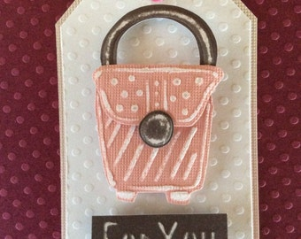 Handmade, embossed Tag/gift tag. Size 2 x 3 inches