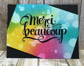Watercolor Merci Beaucoup/Thank You card