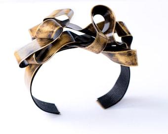 Gold cuff bracelet, gold bracelet, arm cuff, handmade jewelry, moder jewelry, free shipping