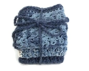 Dishcloth Set -  Shades of blue Ombre - Blue and Ecru twist - Denim- Bath Set -Hand Crochet Cotton