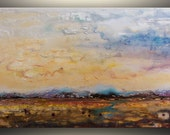 """Abstract Painting Large Abstract Landscape Painting Original Oil painting landscape painting Modern Art Painting Birds 24x48"""" by Tatjana"""