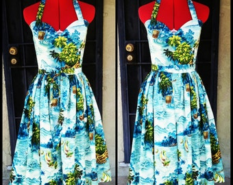 1950's Playsuit Reproduction -2 Piece Set-One Piece Halter Playsuit and Wrap Skirt- Custom made- Hand Made- shirred panels- Cute Hip Detail