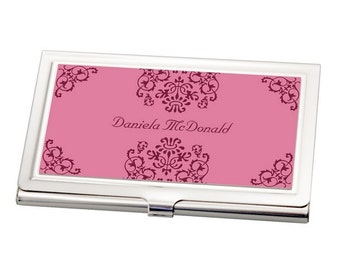 Personalized Pink Damask Business Card Holder