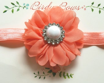 Coral Flower Headband, Baby Headbands, Newborn Headbands, Infant Headbands, Baby Girl Bow, Infant Hair Bow,