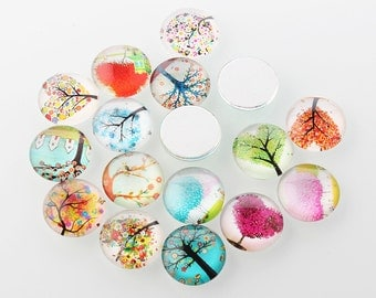 6pc 20mm mix glass cabochons with printed tree of life patterns-7538N