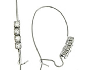 6pc Platinum look Brass Kidney Earwires with Rhinestones-8993E