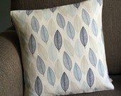 CUSTOM ORDER for MANON 2 x Scandi leaves blue leaf fabric scandi cushion covers cotton pillow covers 16 inch