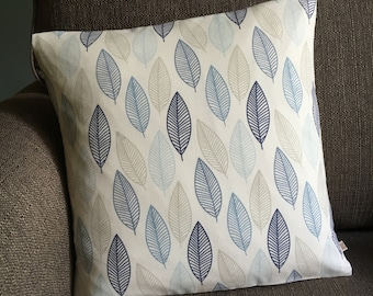 Scandi leaves blue leaf fabric scandi cushion cover cotton pillow cover 16 inch