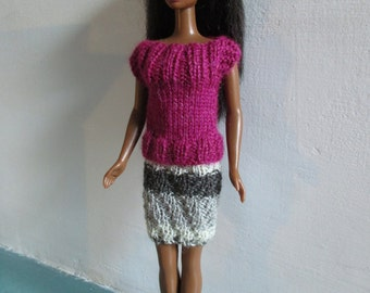 Barbie clothes - purple top and striped grey skirt