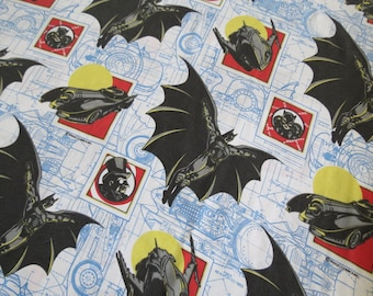 1990s Vintage Kids Sheets - Batman Returns - Twin or Single Flat Sheet Catwoman Batmobile Penguin