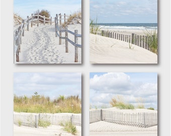 "Beach Decor - Coastal Wall Art - Set of 4 Photos - 20% Off Individual Prices - free shipping - ""Beach Fences"" - Coastal Decor"