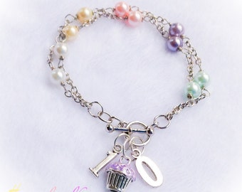 Birthday Cupcake Bracelet Custom Pastel Czech Pearl Number Jewelry
