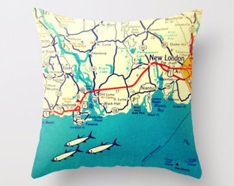 Connecticut Map Pillow Cover, Custom Connecticut Map, Any City CT, New London, New London , Connecticut Gift, Throw Pillow