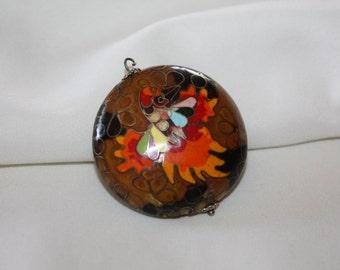 Vintage Cloisonne Enamel Pendant Necklace 1980s Boho  Jewelry
