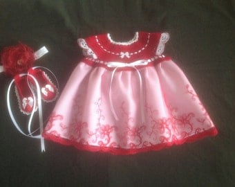 Handmade Crochet Newborn Baby Girl Dress Set - Cardinal Red & White