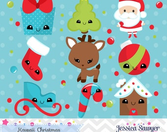 INSTANT DOWNLOAD, kawaii christmas clipart and vectors for personal and commercial use