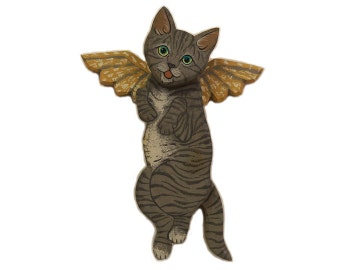 Angel Cat Grey Tiger Household Pet Cat Angel Wooden Wall Hanging