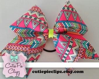 Neon Aztec Printed Cheer Bow