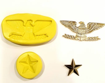 Military eagle silicone mold , plus star 3 inches by 1.5 inches
