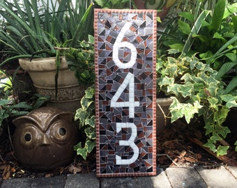 House Number Sign, Mosaic Address Plaque, Colorful, Housewarming Gift, New Homeowner, Real Estate Agent Gift