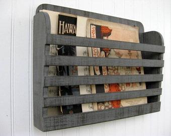 Distressed Wood Magazine File Menu Holder Rustic Steel Gray Dark Graphite Vintage Design Storage Organizer Antiqued Hanging Book Rack
