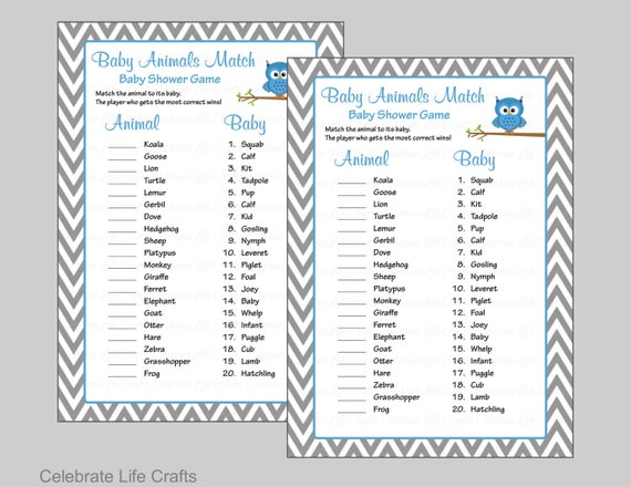 Baby Animals Match Game With Answer Key Printable Baby Shower Game