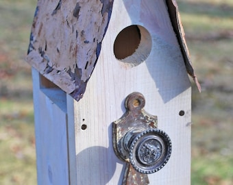 White Birdhouse with Ornate Antique Door Hardware, Brass Knob Perch and Salvaged Tin Roof