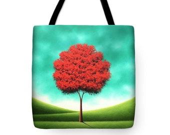 Autumn Tote Bag, Fall Tree Tote Bag, Red Tree Handbag, Tree Art Purse, Yoga Bag, School Bag, Rustic Large Canvas Tote, Library Book Bag