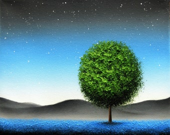 Twilight Night Sky Print, Starry Sky Blue Night Art Print of Landscape Painting, Contemporary Nightscape, Green Tree at Night Dreamscape