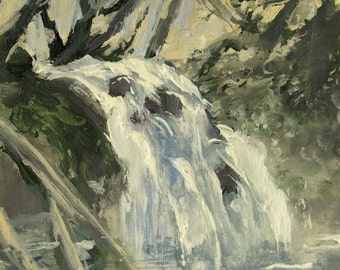 Reserved for Moiria - Goldstream Waterfall - Original Acrylic Painting