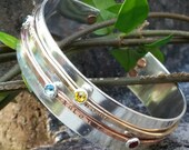 Personalized mothers bracelet, sterling silver bracelet, mixed metal bracelet, custom hand stamped bracelet, wedding gift, mother cuff