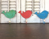 Whimsy Wooden Bird Wall Hooks - Set of 3 - Red, Blue & Beach Green Hooks - Children's Room - Nursery