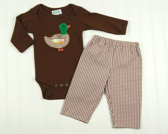 Mallard Duck Shirt - Baby Boy Fall Clothes - Baby Fall Outfit - Brown Gingham Pants - Baby Fall Pants Set - Thanksgiving Baby Boy Clothes