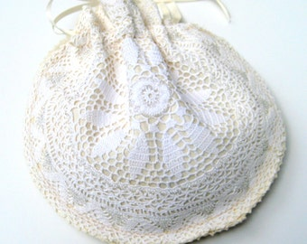Wedding purse, Bridal hand bag, Ecru jacquard cotton with a vintage beaded vintage ecru doily, ribbon drawstring, fully lined