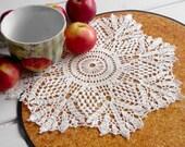 Crochet doily White linen handmade crochet doilies Table decor Lace doilies crochet Elegant doily Kitchen decor Handcrocheted doilies