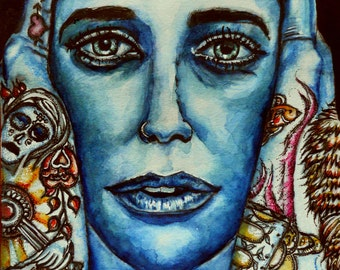"""FREE SHIPPING ORIGINAL Watercolor and ink portrait, """"Storyteller"""" not a print"""
