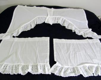 Vintage White Cotton Eyelet Curtains Eight (8) Piece 4 per Window