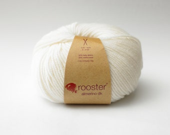 DK Yarn - Rooster Yarn - DK wool - alpaca and merino wool - 50g ball of wool in  cornish colourway - white wool
