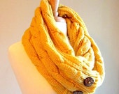 SALE Infinity Scarf Circle Loop Mustard Yellow Gold Braided Cable Knit Neckwarmer Scarves with Buttons Fall Winter Women Girls Accessories